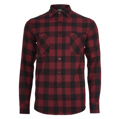 Urban Classics - TB297 Checked Shirt - burgundy/black