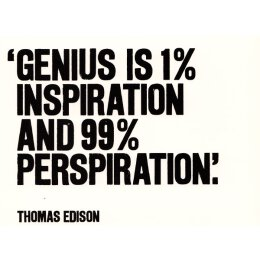 Postkarte - Genius Is 1% Inspiration And 99% Perspiration