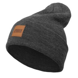 Urban Classics - TB626 Leatherpatch Long Beanie - charcoal