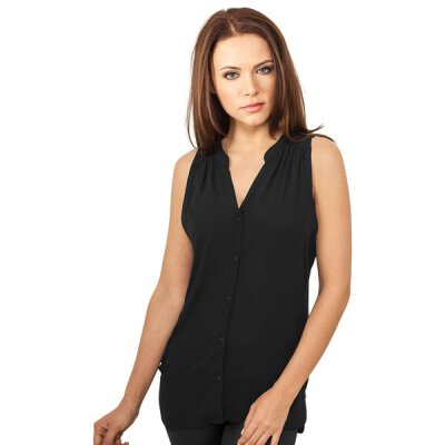 Urban Classics - TB912 Ladies Sleeveless Chiffon Blouse - black