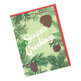 Postkarte mit Umschlag - Seasons Greetings - Fir Trees...