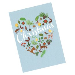 Postkarte - 1973 - Woodland - Christmas Heart