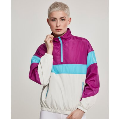 Urban Classics - TB2668 Ladies 3-Tone Stand Up Collar Pull Over Jacket - viola/white/aqua