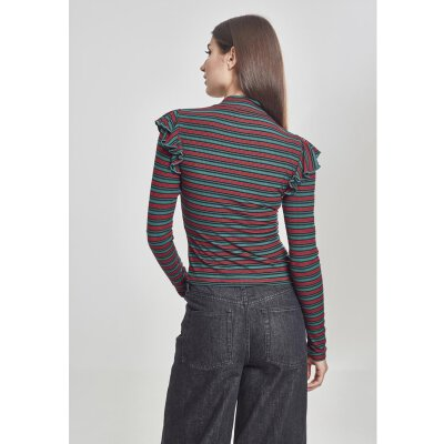 Urban Classics - TB2325 - Ladies Rib Stripe Volant Turtleneck Longsleeve - green/black/firered