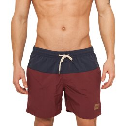 Urban Classics - TB1026 - Block Swim Short - navy/burgund