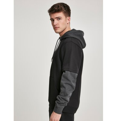 Urban Classics - TB2703 Double Layer Hoodie - black/charcoal