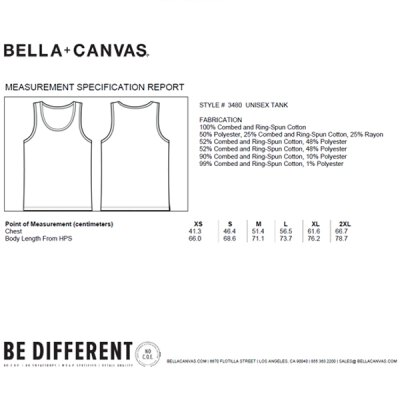 Bella + Canvas - 3480 Unisex Jersey Tank Top - tri blend grey