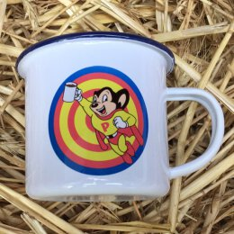 Pascow - Mouse - Emaille Tasse - blauer Rand