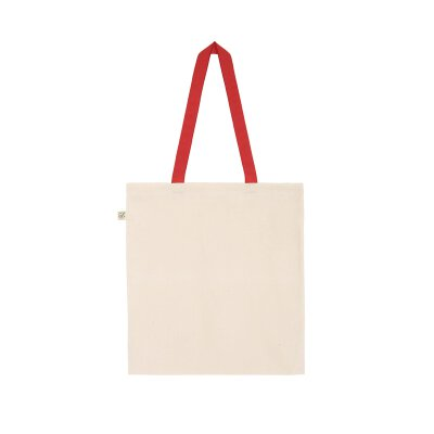 Continental/ Earth Positive - EP71 - Organic Shopper Tote Bag - natural/red handles