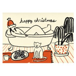 Postkarte - Happy Christmas Bath