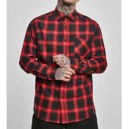 Urban Classics - TB3482 Oversized Checked Shirt - red/black