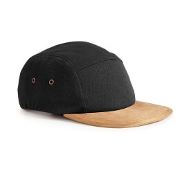 Beechfield - Suede Peak  5 Panel Jockey Cap - black/khaki