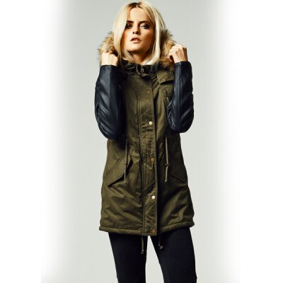 Urban Classics - TB1091 Ladies Leather Imitation Sleeve Parka - olive/black