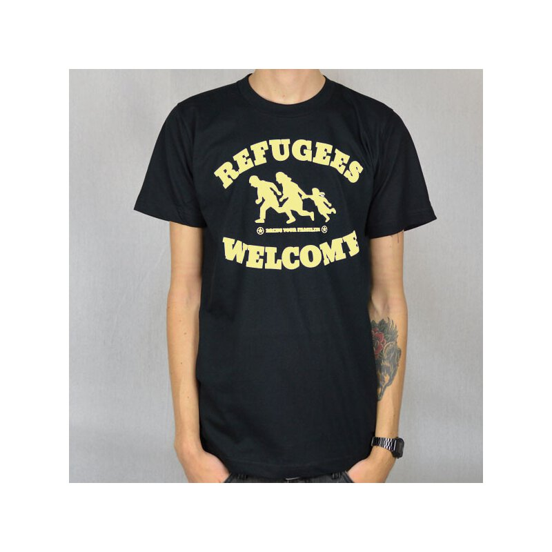 Tante Guerilla - Refugees Welcome  - T-Shirt - black/yellow
