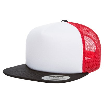 Flexfit/Yupoong - Foam Trucker with White Front - black/white/red