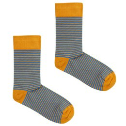 Kabak - Socken - Classic Stripes - Mustard + Blue