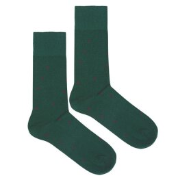 Kabak - Socken - Organic - Dots - Green + Burgundy
