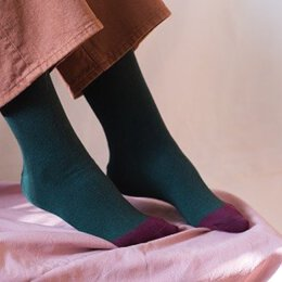Kabak - Socken - Organic - Green + Burgundy Toe