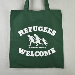 Refugees Welcome  - Jutebeutel - bottle green/white