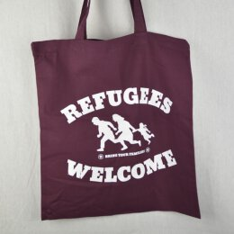 Refugees Welcome  - Jutebeutel - burgundy/white