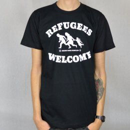Tante Guerilla - Refugees Welcome  - T-Shirt - black/white