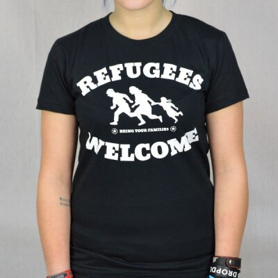 Tante Guerilla - Refugees Welcome  - Girl-Shirt - black/white