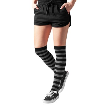 Urban Classics - TB1167 Ladies Striped Overknee Socks - black/charcoal