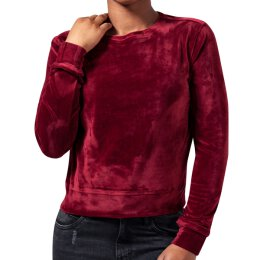 Urban Classics - TB1352 Ladies Short Velvet Crew - burgundy