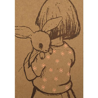 Belle & Boo - Letterpress - Postkarte mit Umschlag - Girl with Rabbit