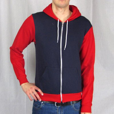 American Apparel - Kapuzenzipper - 2 Tone - navy/red