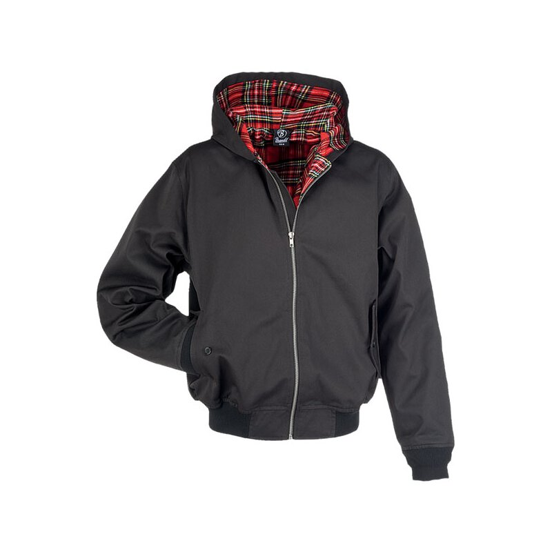 Harrington-Style Jacke hooded - schwarz