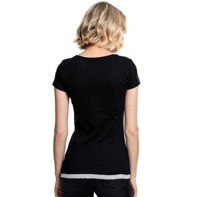 Urban Classics - TB1822 Ladies Two-Colored T-Shirt - blk/gry