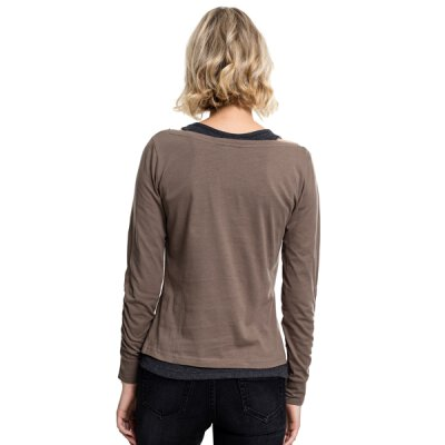 Urban Classics - TB1823 Ladies Two-Colored Longsleeve - army green/charcoal