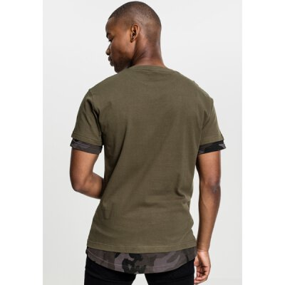 Urban Classics - TB1863 - Long Shaped Camo Inset Tee - olive/dark camo