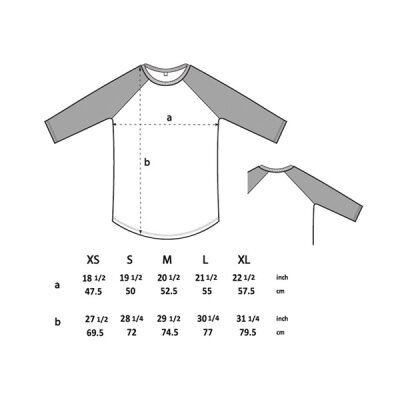 Continental - N22 - Mens/Unisex Retro 3/4 Sleeve Baseball - white/black