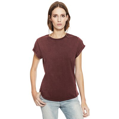 Continental/ Earthpositive - EP16 - Organic Womens Rolled Up Sleeve - stone wash burgundy