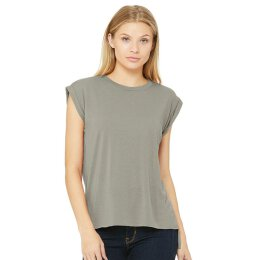 Bella + Canvas - 8804 Womens Flowy Muscle Tee Rolled Cuff...