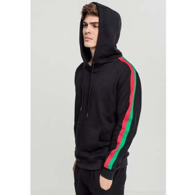 Urban Classics - TB2085 - Stripe Shoulder Hoodie - black/firered/green