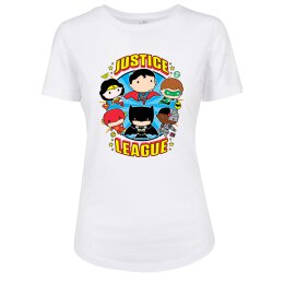 Justice League - Ladies Comic Crew Fit Tee - white