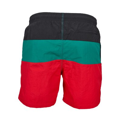 Urban Classics - TB2051 - Color Block Swimshorts - firered/black/green