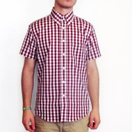 Warrior - Button Down Shortsleeve Shirt - burgundy/white