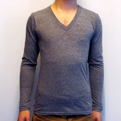 American Apparel - TR476 Tri Blend Vneck Longsleeve - Athletic Grey
