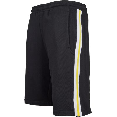Urban Classics - TB2079 - Stripe Sweatshort - black/white/chromeyellow