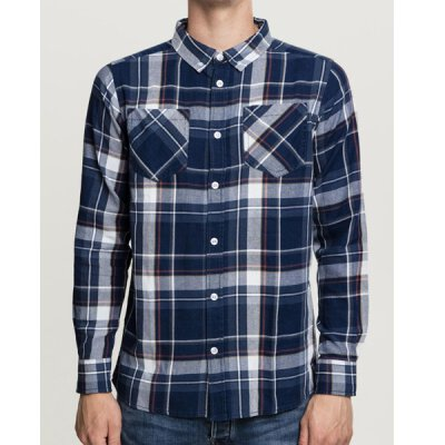 Urban Classics - TB2520 Checked Shirt - indigo/white/red/goldenoak