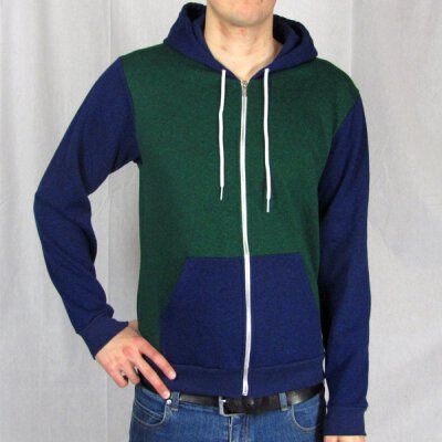 American Apparel - F497 - Kapuzenzipper - 2 Tone - peppered lapis peppered  forest 50be838e00