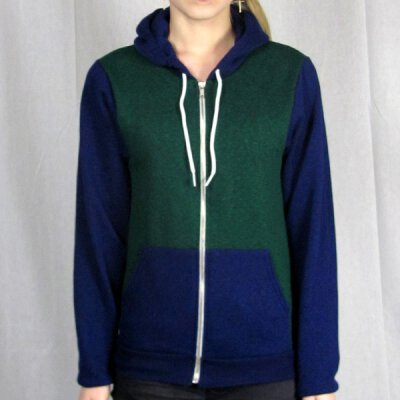 American Apparel - F497 - Kapuzenzipper - 2 Tone - peppered lapis/peppered forest