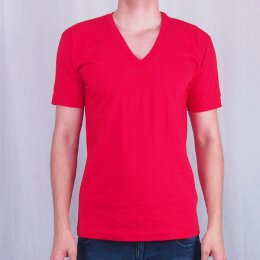American Apparel - Fine Jersey V-Neck T-Shirt - red