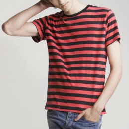 Mantis - Stripy T-Shirt - black/red